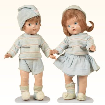 Darling Early Vogue Painted Eye Ginny Playmates Bunky and Binky - 8 Inches