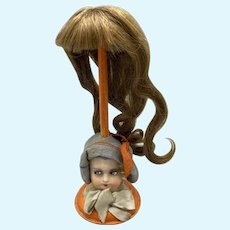 Lovely Antique French Human Hair Wig w Long Curls - Size 4