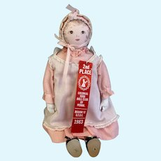 Lovely Mid 20th Century Polly Hecklewelder Moravian Doll -  18 Inches