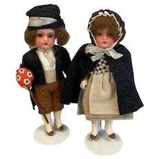 All Original Painted Bisque Pair of Heubach Koppelsdorf Dolls - 5.25 Inches