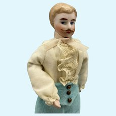 Sophisticated Dollhouse Gentleman w Mustache - 6.75 Inches