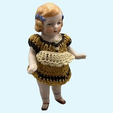 Sweet All Original Hertwig All Bisque Doll - 3.5 Inches