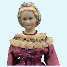 "Gorgeous ""The Grape Doll"" Emma Clear China Doll - 18 Inches"