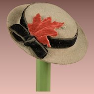 Charming Antique Felt Fashion Hat Perfect for French Fashions