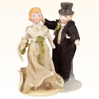 Adorable Pair of Hertwig Bride and Groom Flapper Era Dolls - 3.25 Inches