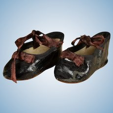 Lovely Black Antique Shoes Marked 10 for Bebe or Character Doll