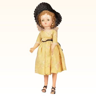 Lovely Vintage Madame Alexander Cissy Doll in Original Yellow Floral Taffeta Dress - 20 Inches