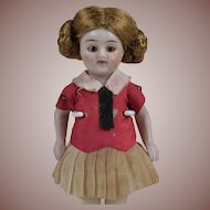 Adorable All Bisque Antique German Doll - 3.5 Inches