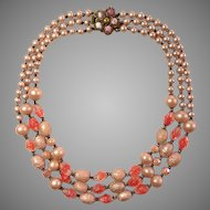 Stunning vintage Czech glass beads and imitated pearls 3 strands with beautiful clasp art deco style