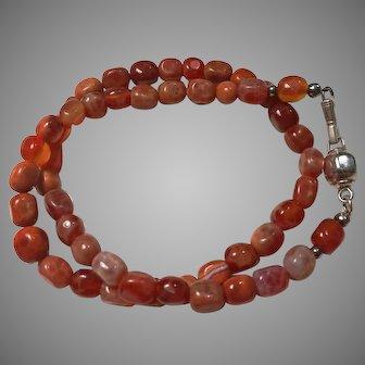 Beautiful vintage carnelian gemstone one strand necklace made in India around 1970