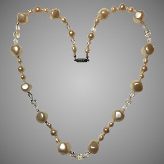 Vintage 1960 Necklace Cultured Freshwater Pearl and Swarovski faceted beads with 835 silver clasp