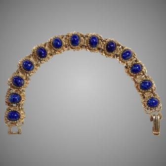 Vintage 1960 baroque style gold tone bracelet with ultramarine blue cabochon beads Sphinx UK