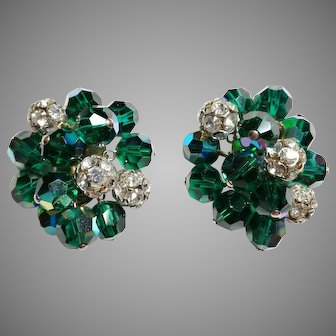 Stunning vintage pair of  earrings France 1950 crystal emerald color and rhinestones clip on