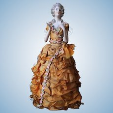 """Dressel and Kister half doll candy container arms away demi figurine 9"""" 1/2"""