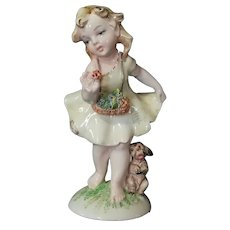 Fontanini porcelain figurine girl with flowers & dog Italy 50es