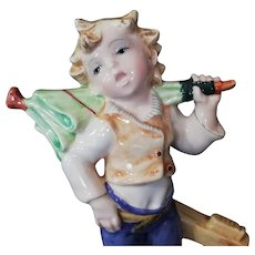 Fontanini porcelain figurine boy singer with umbrella Italy 50es