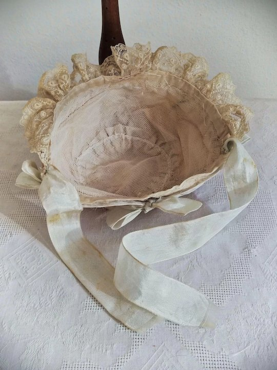 177c6ad59 Very sweet antique silk and lace baby bonnet for French German bisque bebe  doll 14 circ. head