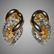 Vogue Bijoux love knot Rhinestone Earrings clip-on