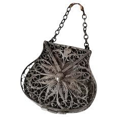 Tiny filigree purse miniature for French fashion doll