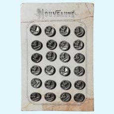 24 antique metal buttons nouveaute Paris card for dolls costume