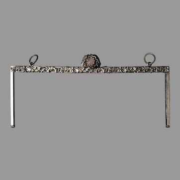 Vintage French art deco jewelled purse frame for handbag amethyst clasp
