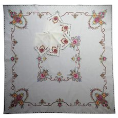 Vintage 50es hand embroidered  cross-stitched luncheon Tea set square tablecloth and napkins