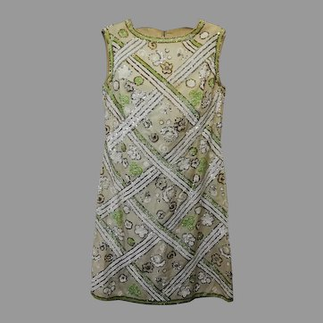 Vintage 1960s Mod Dress Sequins Hand embroidered Geometric Pattern Couture Italian Fashion