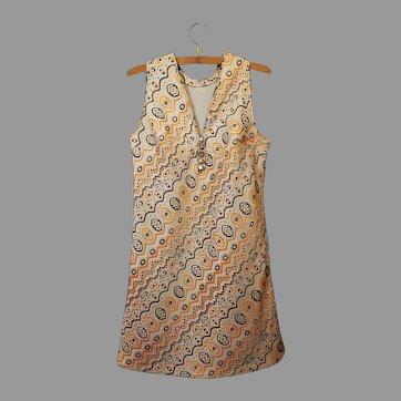 Vintage 1960s Mod Mini Dress Geometric Jacquard Couture Italian Fashion