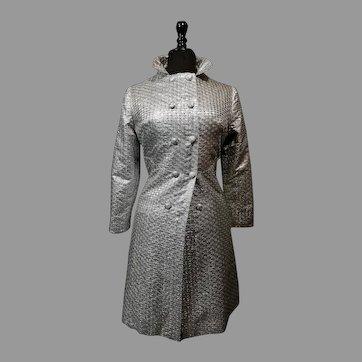 Vintage Dress Coat Silver Gray Jacquard Shimmering Silk Italian High Fashion 60es Mod era