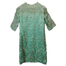 Vintage French couture beaded Robin's egg dress hand embroidered on silk organdy and taffeta 60es