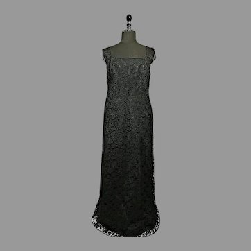 Vintage couture high fashion black evening dress 60s chantilly lace and silk made in Italy