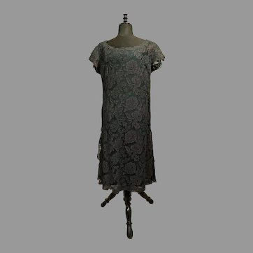 Vintage Italian couture high fashion dress Sanlorenzo 60s chantilly lace silk