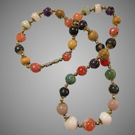 Simply beautiful Vintage art deco 1940 multicolour gemstones beads fancy shape one strand necklace