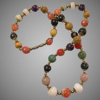 Simply beautiful Vintage art deco 1940 multicolour gemstones beads fancy shape one strand necklace