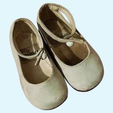 """Vintage Mary Jane baby leather shoes for dolls 4"""" 3/8 long"""
