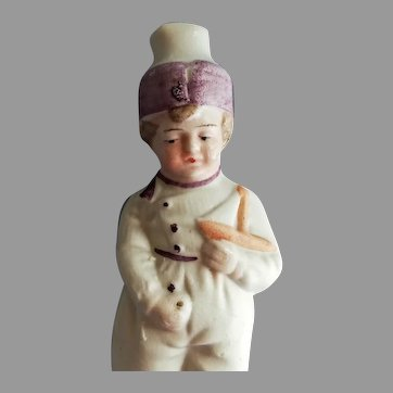 Antique Doll Miniature All Bisque Pajamas Peeing Boy Frozen Doll  Hertwig end 19th