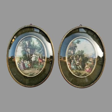 Two Vintage Art Deco Little Frames convex glass with Pictures Silk Prints