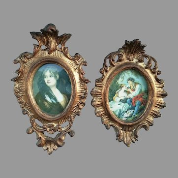 Two Vintage Carved wood Little Frames with portrait of lady and love scene