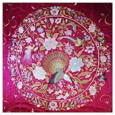 Early 1920es Chinese Embroidered Silk Qing Dynasty Bedspread