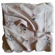 Antique Italian Piquet Bedspread Hand Embroidered Flowers Festoon