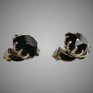 Vintage fashionable art deco jet black crystal faceted clip on earrings 40es 5/8""