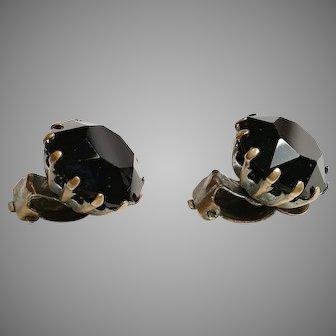 "Vintage fashionable art deco jet black crystal faceted clip on earrings 40es 5/8"""