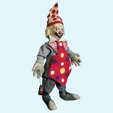 "Vintage 40/50es Clown Character Felt Doll Italian or French 15"" tall"