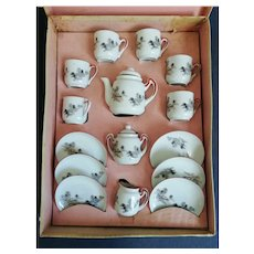 Vintage mid 1900 Porcelain Coffee Set Miniature in Box for Dolls and Child Japan