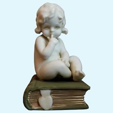 Antique German A & E Müller Bisque Child Baby Figurine 1920 circa