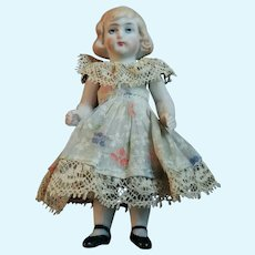 """Antique German All Bisque Doll House 3""""1/2 Molded Hair"""