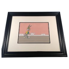 Bugs Bunny Show Animation Production Cel Setup with Painted Background Framed