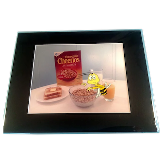 Honey Nut Cheerioes Bee Pushed By Bowl Animation Production Cel with Photographic Background