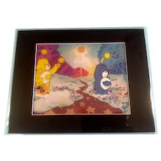 Care Bears Animation Production 2 Cel Setup With Matching Color Print Background- Matted