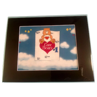 Care Bears Animation Production Cel Setup With Matching Color Print Background